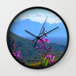 Fireweed Overlooking Mat-Su Valley, Alaska Wall Clock
