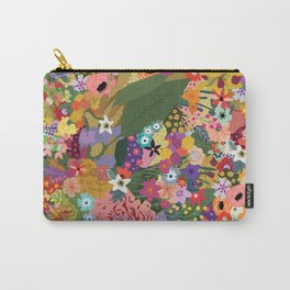 Colorful Flower & Foliage Pattern Carry-All Pouch