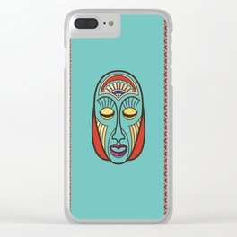 Aboriginal Aztec Inca Mayan Mask Clear iPhone Case