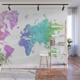 Gradient watercolor world map, highly detailed, Jude Wall Mural