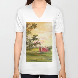 Red Barn, Farm Painting, by Faye Unisex V-Neck