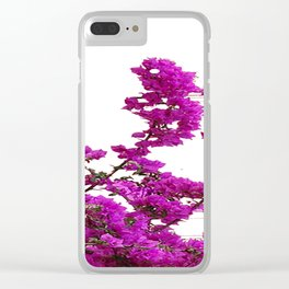 LILAC PURPLE BOUGAINVILLEA VINES CLIMBING ON WHITE Clear iPhone Case