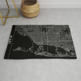 Miami Black Map Rug