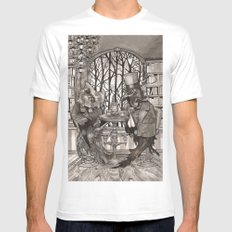 The Owl & The Raven MEDIUM White Mens Fitted Tee
