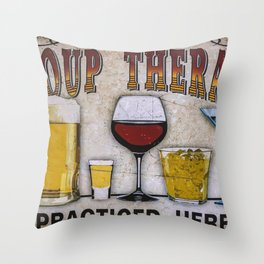 Group therapy practiced here Throw Pillow