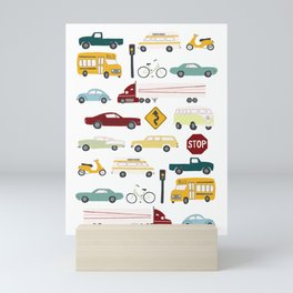 Beep Beep! Cars and Trucks Traffic Pattern Mini Art Print
