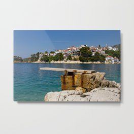 A diving board in Skiathos town (Greece) Metal Print
