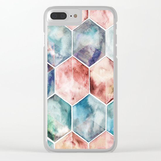 Earth and Sky Hexagon Watercolor Clear iPhone Case