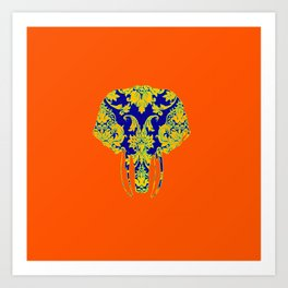 Elephant head damasks thermal color Art Print