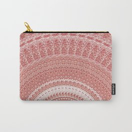 Pastel Peach White Boho Chic Mandala Carry-All Pouch