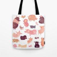pig Tote Bags featuring Pig Pig Pig  by Chuck Groenink