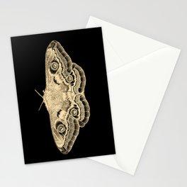 Gold moth on black Stationery Cards