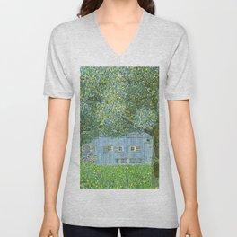 Klimt - Farmhouse in Upper Austria (new editing) Unisex V-Neck