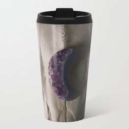 Amethyst Crystal Crescent Moon on Deer Skull Travel Mug