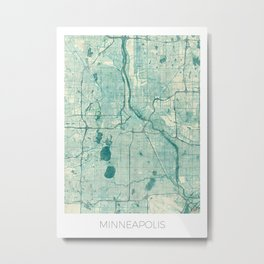 Minneapolis Map Blue Vintage Metal Print
