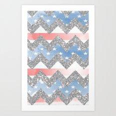 american flag glitter chevron Art Print
