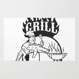 Chef Carry Alligator Grill Cartoon Rug