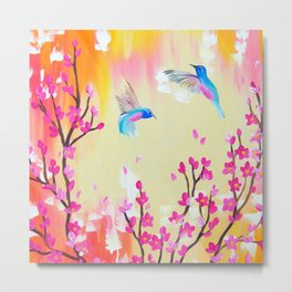 Hummingbirds with pink and yellow Metal Print