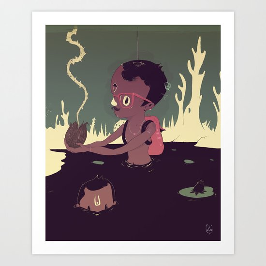 Black-water coconut Art Print