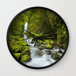 I - Remote waterfall in lush rainforest, Columbia River Gorge, Oregon, USA Wall Clock