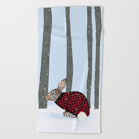 Rabbit In The Wintery Forest Beach Towel