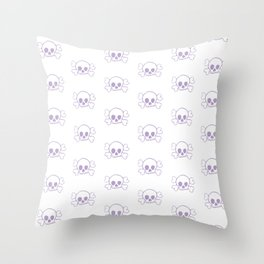 Lavender Skull and Crossbones Print and Pattern Throw Pillow