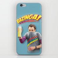bazinga iPhone & iPod Skins featuring Sheldon  - BAZINGA! by ShannonPosedenti