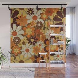 70's Floral Prints, Retro Art Wall Mural