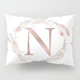 Letter N Rose Gold Pink Initial Monogram Pillow Sham