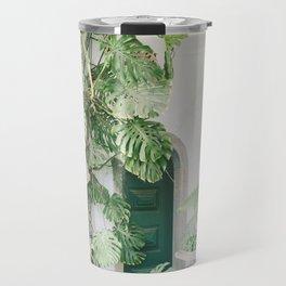 monstera print, botanical print, plant, portugal print, sintra print, minimalist print, plant print Travel Mug