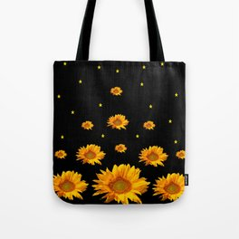 GOLDEN STARS YELLOW SUNFLOWERS  BLACK COLOR Tote Bag