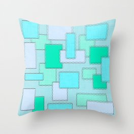 Turquoise Patches Throw Pillow