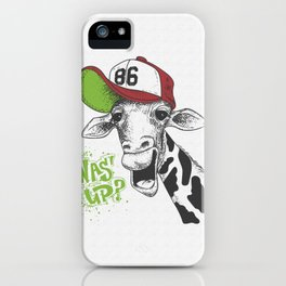 print with giraffe images and text, grunge effect, t-shirt design iPhone Case