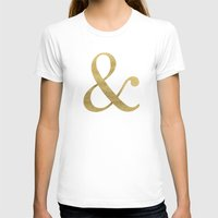 gold glitter T-shirts featuring Gold Glitter Ampersand by Tamsin Lucie