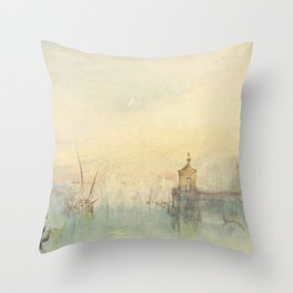 """J.M.W. Turner """"Venice: The New Moon – The Dogana from the steps of The Hotel Europa"""" Throw Pillow"""