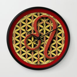 Flower of Life LEO Astrology Design Wall Clock