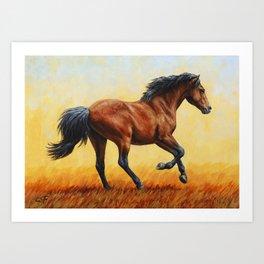 Running Bay Horse Art Print