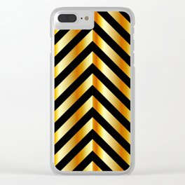 High grade raw material golden and black zigzag stripes Clear iPhone Case