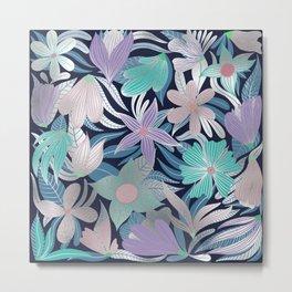 Silver Purple Blue Floral Leaves Illustrations Metal Print