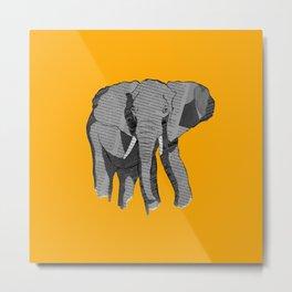 Newspaper Elephant Metal Print