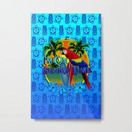 Island Time Surfing Blue Tiki Metal Print