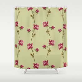 Embroidered Rose Shower Curtain