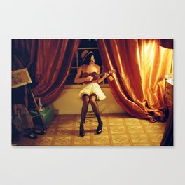Silverlake, Los Angeles, CA. Lexy with Ukelele. Canvas Print