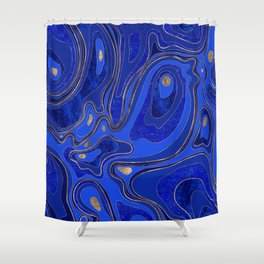 Marble Map - blue and gold Shower Curtain