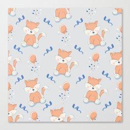 Happy Birthday Orange Fox Light Grey Background Pattern Canvas Print