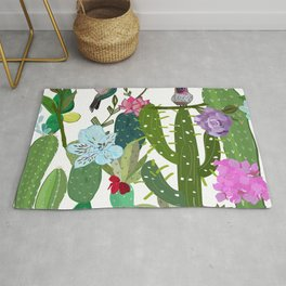 Cactus, succulents and humming bird. Tropical pattern Rug