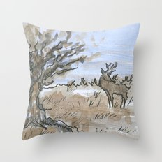 Winter Stag Throw Pillow