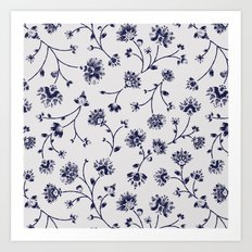 Indigo Floral Trail (reversed) Art Print