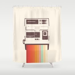 Instant Camera Rainbow Shower Curtain