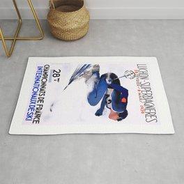 1938 Luchon Superbagneres France Ski Poster Rug